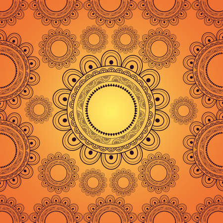 mandala background decorative motif ottoman yellow design vector illustration 矢量图像