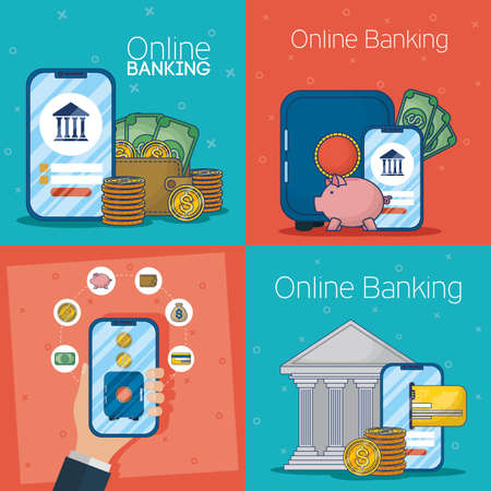 banking online technology with electronic devices vector illustration design Иллюстрация