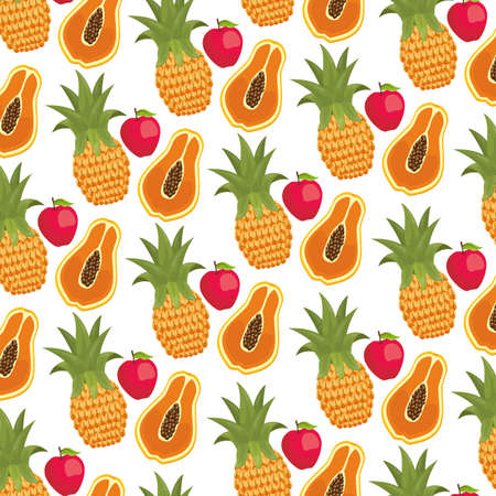 strawberry pineapple and papaya tropical fruits background decoration vector illustration