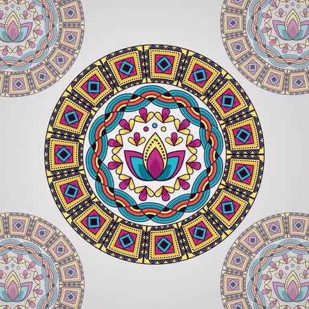mandala lotus flower vintage decorative ethnic element vector illustration