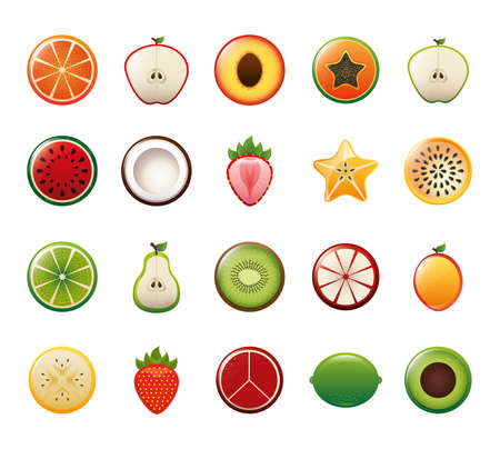 Fruits icon set design, healthy organic food sweet nature juicy and nutrition theme Vector illustration
