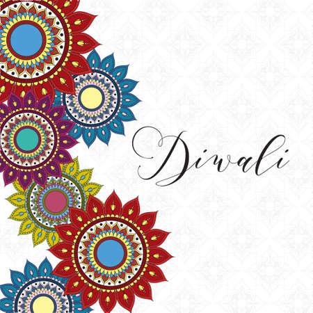 happy diwali celebration lettering with mandalas decorative frame vector illustration design