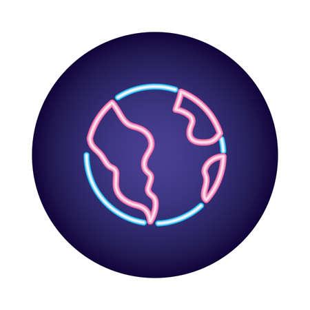 world planet earth neon style icon vector illustration design