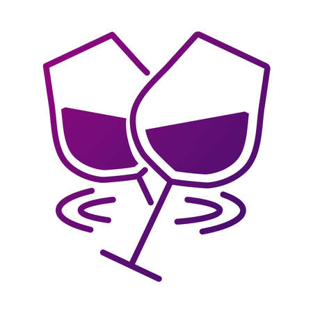 wine cups toasting gradient style icon vector illustration design  イラスト・ベクター素材