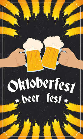 oktoberfest party lettering in poster with hands toasting beers and barley spikes vector illustration design Illustration