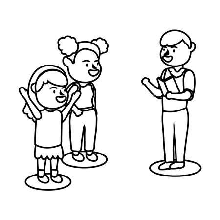 male teacher worker reading book and little schoolgirls line style icon vector illustration design