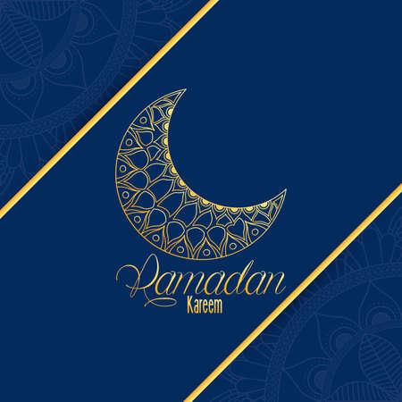 Ramadan kareem card with lettering and golden moon vector illustration design Vector Illustration