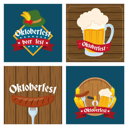 oktoberfest party celebration poster with set icons vector illustration design Illustration