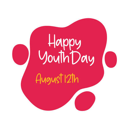 happy youth day lettering in cloud flat style vector illustration design