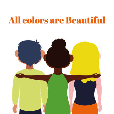 all colors are beautiful lettering with interracial friends vector illustration design