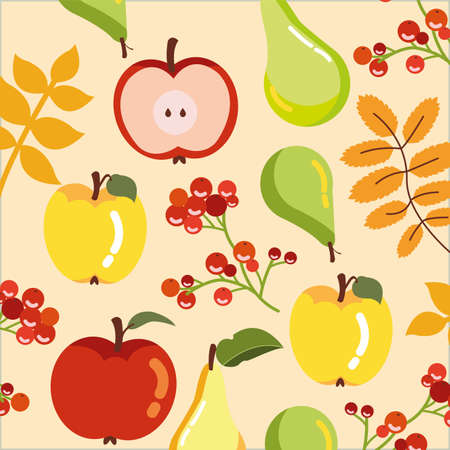 pattern of fruits autumn with branches vector illustration design