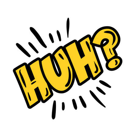 huh expresion word pop art flat style vector illustration design