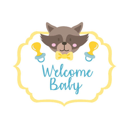 baby shower frame card with raccoon and welcome baby lettering hand draw style vector illustration design