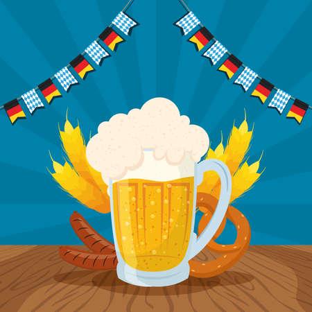 oktoberfest party celebration poster with beer jar and food vector illustration design