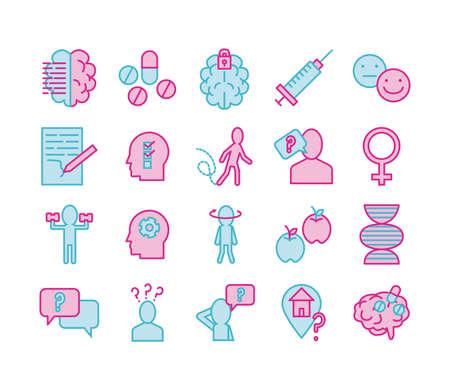 bundle of alzheimer set icons vector illustration design Vektoros illusztráció
