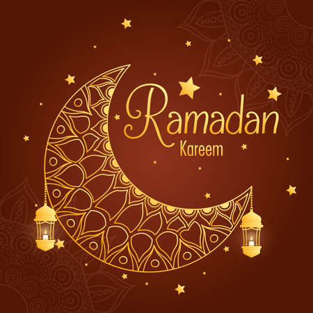Ramadan kareem card with moon and golden lantern hanging vector illustration design Vector Illustration