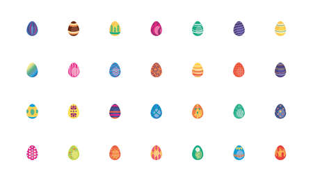 bundle easter eggs painted flat style icons vector illustration design