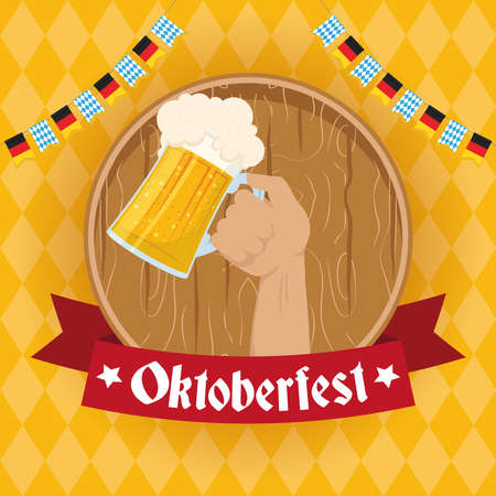oktoberfest party lettering in ribbon with hand lifting beer jar vector illustration design Illustration