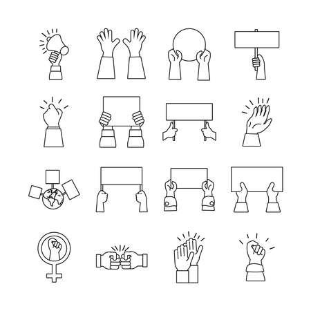bundle of hands protest set icons vector illustration design