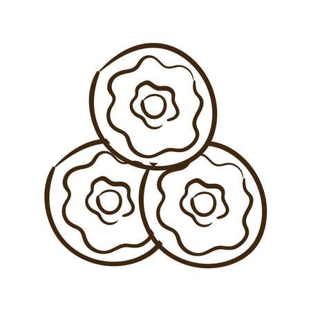 sweet donuts line style icon vector illustration design 矢量图像