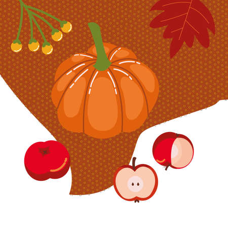 fresh autumn fruits seasonal icons vector illustration design 向量圖像