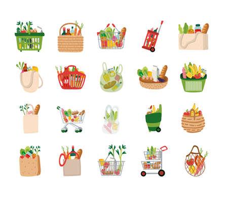 bundle of groceries set icons vector illustration design Illusztráció