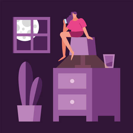 woman using smartphone seated in lamp suffering from insomnia vector illustration design