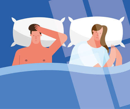 couple in bed thinking suffering from insomnia characters vector illustration design