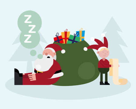 santa claus and elf sleeping in gifts bag christmas characters vector illustration design