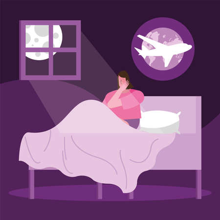 woman in bed thinking in travel suffering from insomnia character vector illustration design 向量圖像