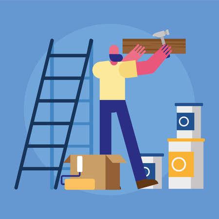 male constructor worker remodeling hammering wooden board vector illustration design