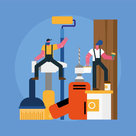 constructors workers team remodeling with equipment scene vector illustration design