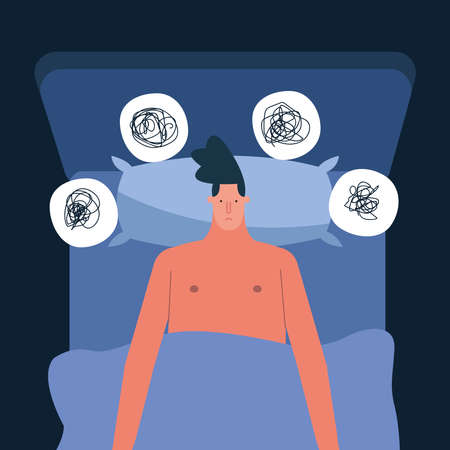 man in bed thinking problems suffering from insomnia character vector illustration design