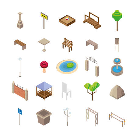 bundle of twenty five park Isometric style icons vector illustration design