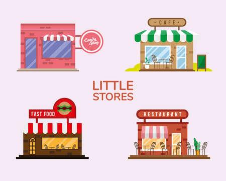 group of little stores facades vector illustration design Vetores