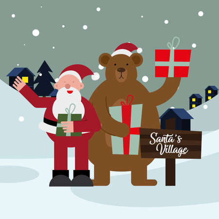 santa claus and bear with gifts christmas characters vector illustration design