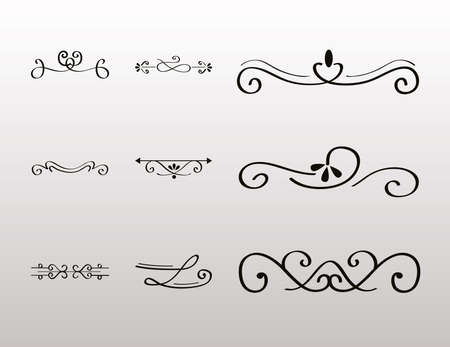 decorative swirls dividers in gray background vector illustration design