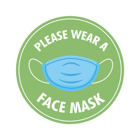 mask required circular label stamp with lettering and face mask vector illustration design