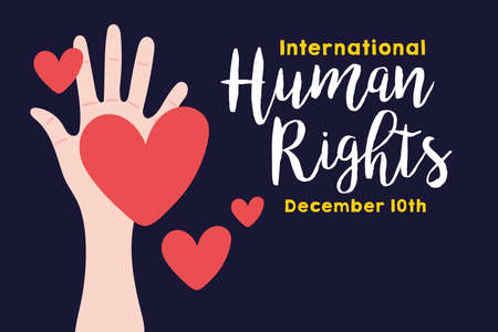 human rights campaign lettering with hand and hearts vector illustration design