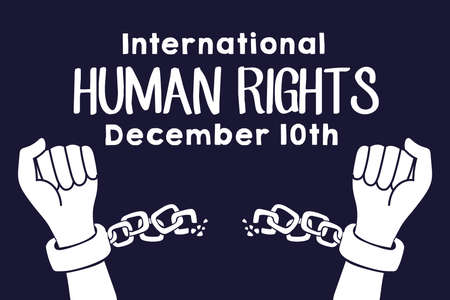 human rights campaign lettering with hands breaking chains vector illustration design
