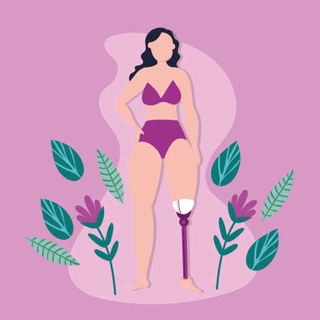 perfectly imperfect woman with leg prosthesis vector illustration design