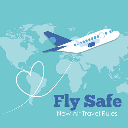 fly safe campaign lettering poster with airplane flying and earth maps vector illustration design