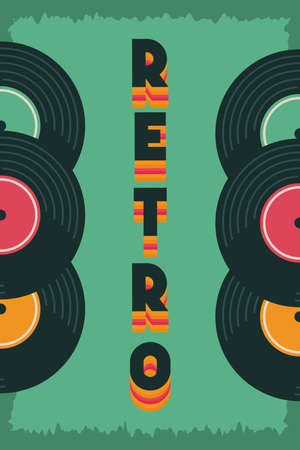 poster retro style with vinyls disks vector illustration design