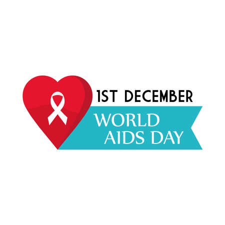 World aids day with ribbon on heart design, first december and awareness theme Vector illustration