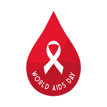 World aids day with ribbon in drop design, first december and awareness theme Vector illustration