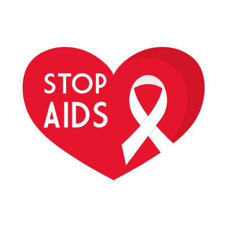 stop aids with ribbon on heart design, first december and awareness theme Vector illustration