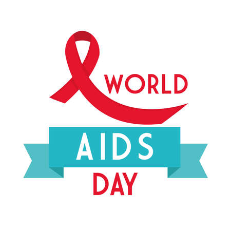 World aids day with ribbon design, first december and awareness theme Vector illustration Illustration