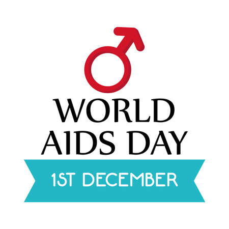 World aids day with male gender design, first december and awareness theme Vector illustration
