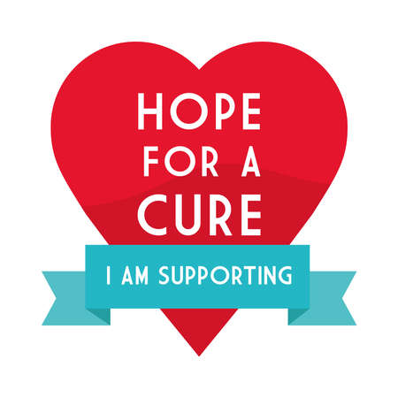 Hope for a cure world aids day on heart design, first december and awareness theme Vector illustration