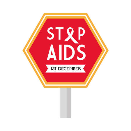 stop aids with ribbon on road sign design, first december and awareness theme Vector illustration